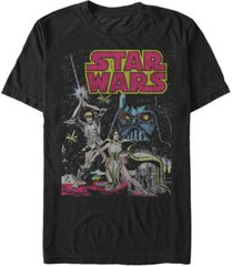 star wars men's classic comic luke leia and darth vader short sleeve t-shirt