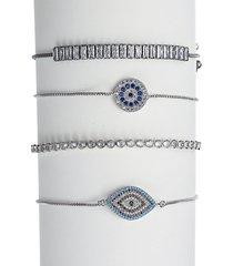 luxe rhodium-plated & crystal stack evil eye adjustable bracelet set