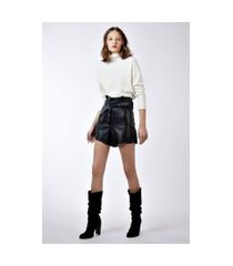 short like leather clochard com cinto preto - 42