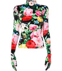 richard quinn floral full sleeve velour blouse - black