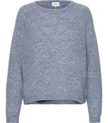 brook knit o-neck stickad tröja blå second female