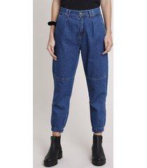calça jeans feminina jogger cintura super alta com recorte azul escuro