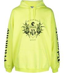 vetements logo-print drawstring hoodie