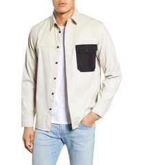 men's rag & bone franklin chore slim fit button-up shirt, size medium - white