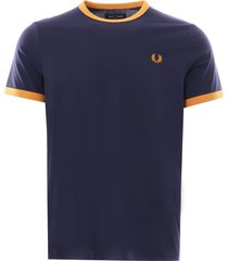 fred perry ringer tee | carbon blue | m3519-584