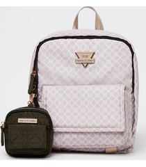 river island womens pink front flap backpack with pouch