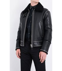 studded belted biker jacket black pure leather all size available men