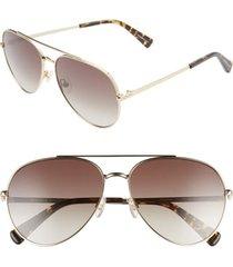 women's rebecca minkoff stevie 63mm oversize gradient aviator sunglasses - gold/ brown gradient