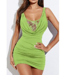 yoins inserto de encaje verde drapeado sin mangas vestido