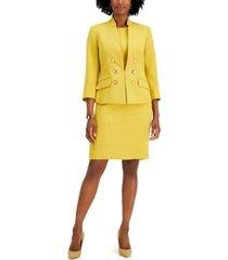 le suit solid button-front dress suit