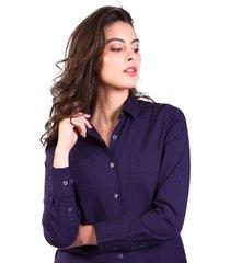 camisa brahma mujer azul cam0105-azu