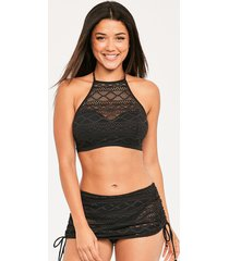 sundance underwire padded hi-neck crop top