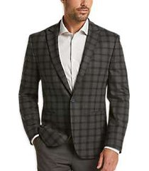 joe joseph abboud gray plaid slim fit casual coat