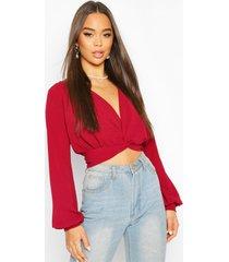 twist front plunge crop woven blouse, berry