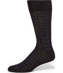 windowpane cotton dress socks