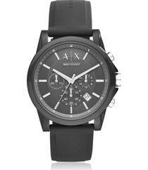 armani exchange designer men's watches, outerbanks black silicone men's chronograph watch