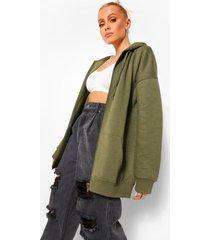 basic hoodie met rits, khaki
