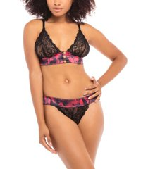 women's galloon lace triangle cup bralette with thick satin band and front snap closure with matching panty set