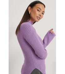 na-kd trend ribbstickad tröja med slits i sidan - purple