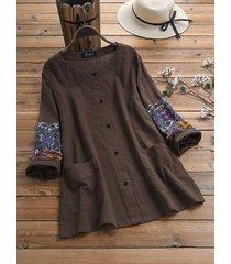 camicetta a maniche lunghe in cotone plus patchwork stampa etnica