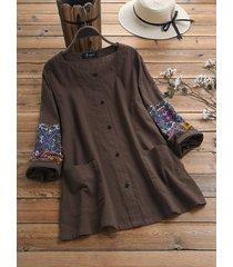 camicetta di dimensione plus manica lunga patchwork di cotone stampa etnica