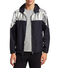 modern metallic colorblock jacket