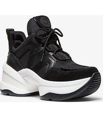 mk sneaker olympia in tela e pelle scamosciata - nero/bianco (nero) - michael kors