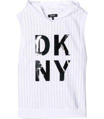 dkny white sleeveless sweatshirt