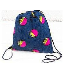 cotton drawstring backpack, 'bright suns' (ghana)