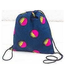 cotton drawstring backpack, 'bright suns' (ghana)