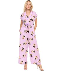 macacão vero moda pantalona floral lilás - kanui