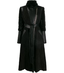 temperley london multi-textured belted coat - black