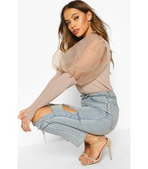 high frill neck sweater with organza puff sleeve, nude