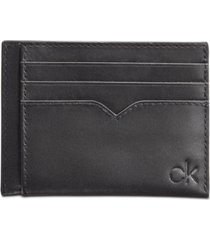 calvin klein men's leather logo card case