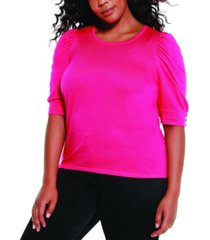 belldini black label women's plus size puff sleeve pullover sweater