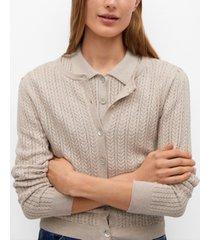 openwork knit cotton cardigan