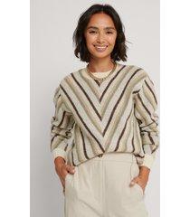 na-kd trend mönsterstickad tröja med rund halsringning - multicolor