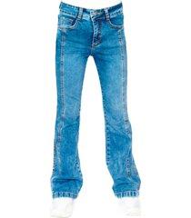 jeans flare corte delantero azul cacao
