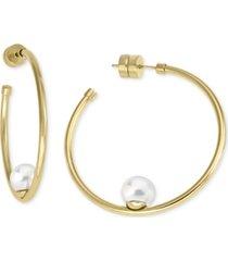 """majorica gold-tone stainless steel imitation pearl medium hoop earrings, 1-1/2"""""""