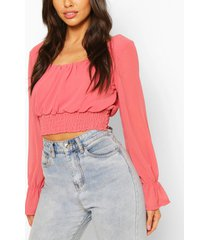 woven square neck shirred top, coral