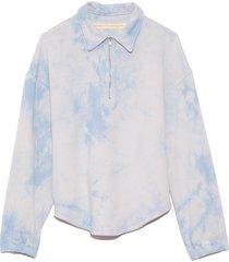 zip collar sweatshirt in cloud washed blue