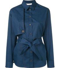 cédric charlier belted shirt - blue