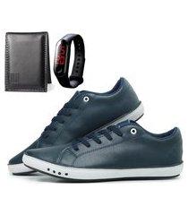 kit sapatênis com carteira e relógio mb outlet alta qualidade azul