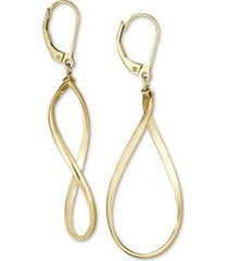 italian gold polished oval drop earrings in 14k gold