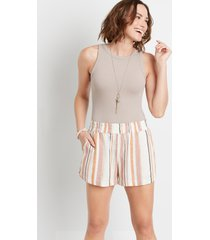 maurices womens white stripe dolphin 3.5in linen shorts