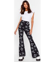 womens chart reader astrology flare pants - black