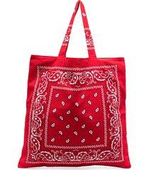 arizona love bandana print tote bag - red