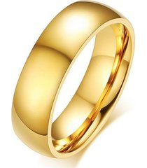 anillo unisex 6mm clasico acero inoxidable dorado 015