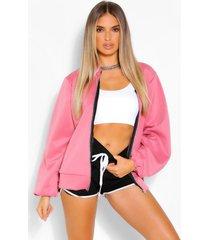 balloon sleeve scuba bomber jacket, dusky pink