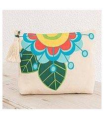 cotton cosmetic bag, 'floral inspiration' (el salvador)